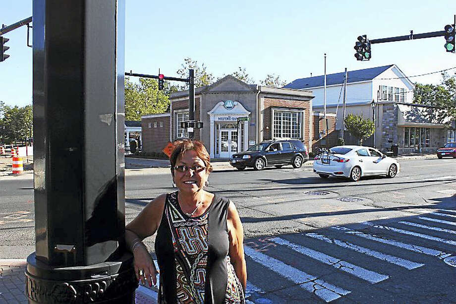 State Rep. Kim Rose stands at the corner of Bridgeport and Naugatuck avenues after surveying the crosswalks in the Devon center area. Photo: Contributed Photo