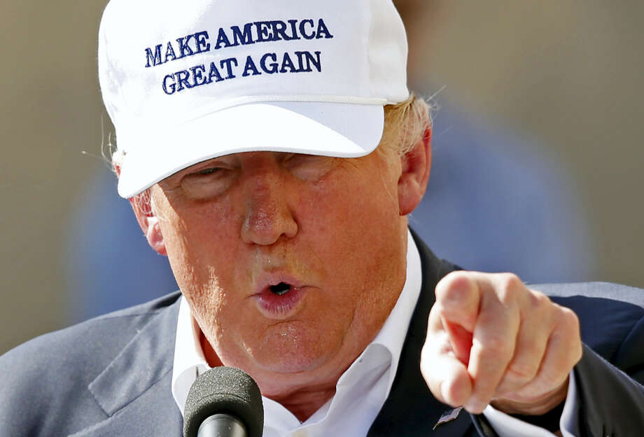 In this June 30 file photo, Republican presidential candidate Donald Trump speaks at a town hall-style campaign event at the former Osram Sylvania light bulb factory in Manchester, N.H. Photo: ASSOCIATED PRESS   / Copyright 2016 The Associated Press. All rights reserved. This material may not be published, broadcast, rewritten or redistribu