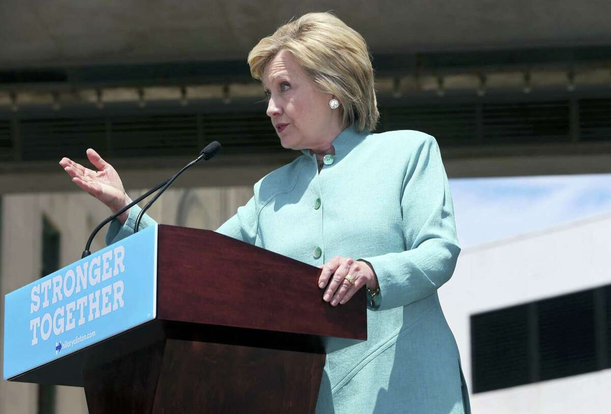 Democratic presidential candidate Hillary Clinton addresses a gathering on the Boardwalk July 6 in Atlantic City, N.J.