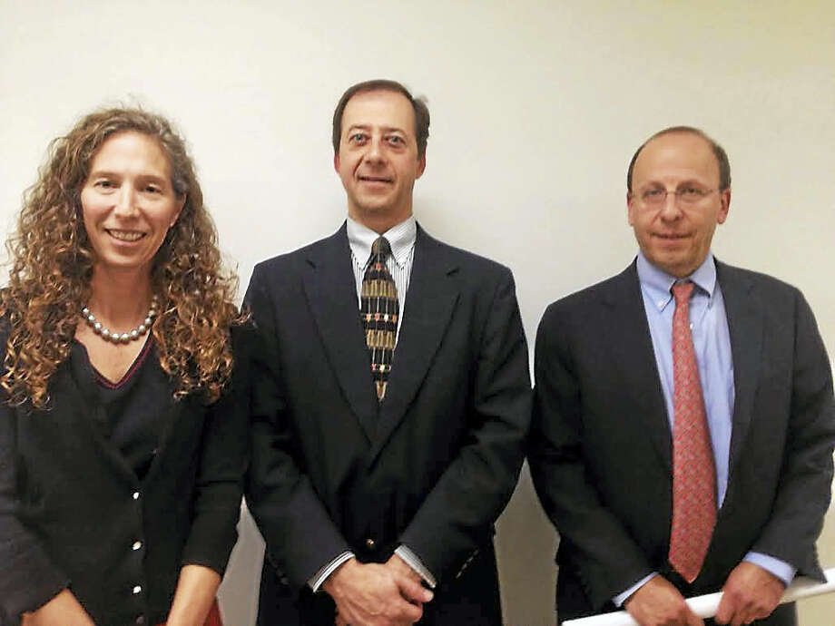 Lauren Zucker, vice president at Yale; James Elmasry, senior project planner at Yale and attorney Joseph Hammer are pleased with the progress the Schwarzman Center is making in the approval process. Photo: MARY O'LEARY — NEW HAVEN REGISTER