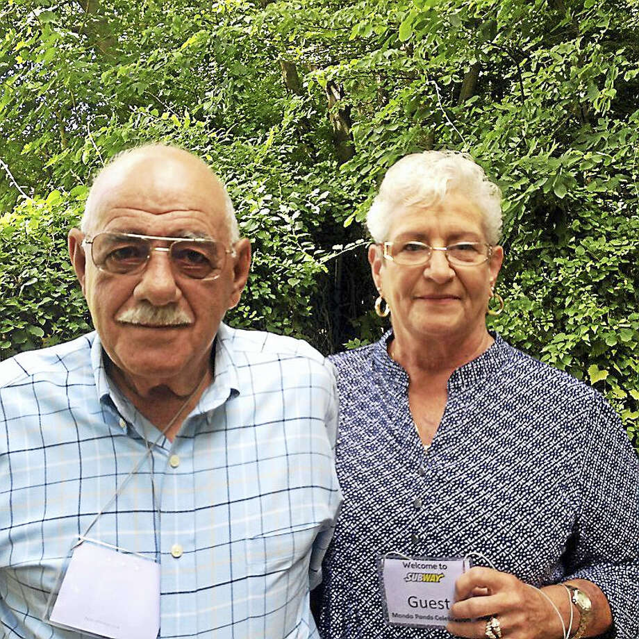 Joseph and Sylvia Mondo were among those who attended the official dedication of a rejuvenated nature preserve trail that is part of Mondo Ponds behind Subway World Headquarters. Joseph's father, Rocco Mondo, owned an excavating company that dug out the ponds beginning just after World War II. Today it is a heavily used passive recreation area known for its beauty.  Photo by Pam McLoughlin Photo: Pam McLoughlin — New Haven Register