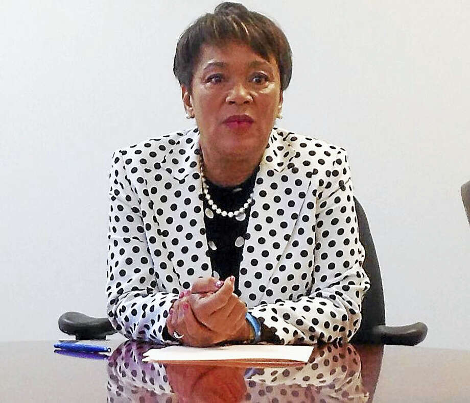 New Haven Mayor Toni N. Harp speaks to the New Haven Register editorial board. Photo: NEW HAVEN REGISTER