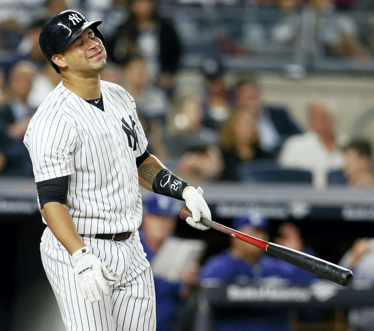 Gary Sanchez reacts after striking out during the fifth inning on Monday.