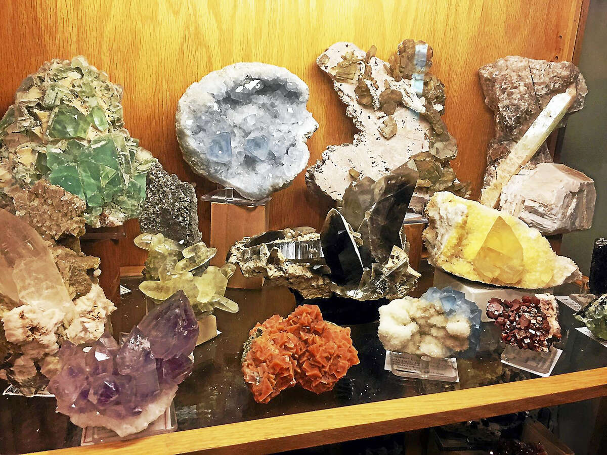 Minerals like these, owned by a New Hampshire collector, will be on display.
