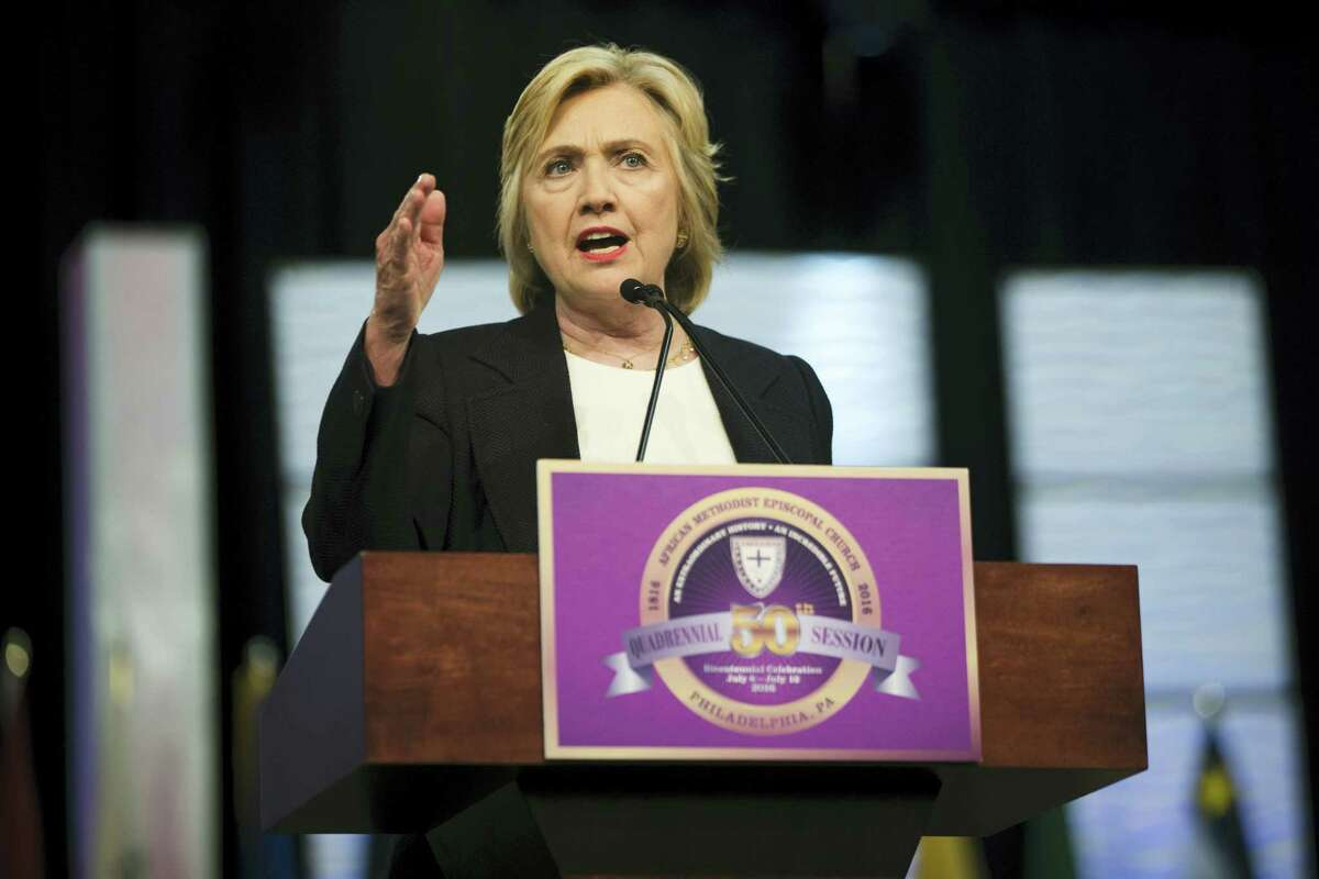 Democratic presidential candidate Hillary Clinton speaks at the African Methodist Episcopal church national convention in Philadelphia on July 8, 2016.