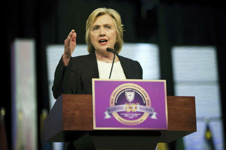 Democratic presidential candidate Hillary Clinton speaks at the African Methodist Episcopal church national convention in Philadelphia on July 8, 2016. Photo: AP Photo/Matt Rourke   / Copyright 2016 The Associated Press. All rights reserved. This material may not be published, broadcast, rewritten or redistribu