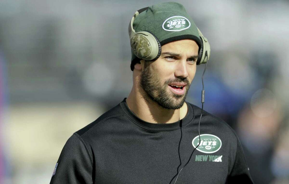 In this Dec. 6, 2015, file photo, New York Jets wide receiver Eric Decker warms up before a game against the New York Giants. The Jets have placed Decker on injured reserve Wednesday with a partially torn rotator cuff in his right shoulder, ending his season.