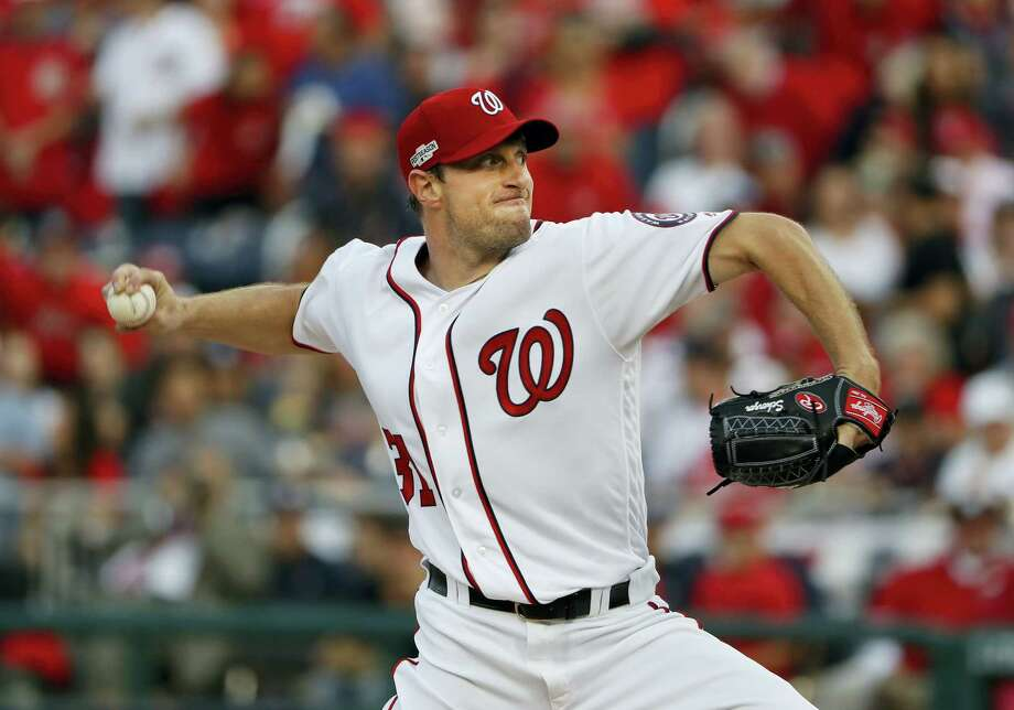 Washington Nationals starting pitcher Max Scherzer works against the Los Angeles Dodgers during the first inning in Game 1 of baseball's National League Division Series. The Nationals turn to Scherzer for the deciding Game 5 of the NL Division Series tonight. Scherzer calls this the biggest start of his career with a spot against the Cubs in the NL Championship Series at stake. Photo: PABLO MARTINEZ MONSIVAIS — THE ASSOCIATED PRESS   / Copyright 2016 The Associated Press. All rights reserved.