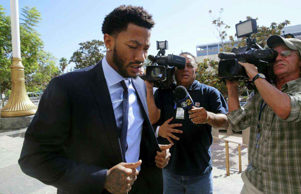 New York Knicks player Derrick Rose arrives at U.S. District Court in downtown Los Angeles on Thursday. Rose's ex-girlfriend alleges the NBA star and two of his friends drugged and sexually assaulted her.