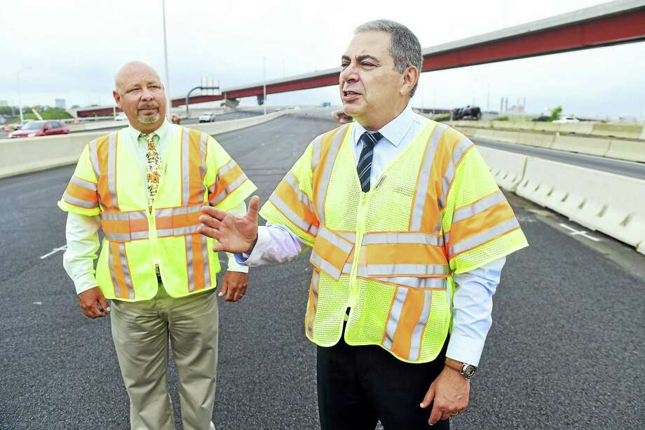 Connecticut Department of Transportation Project Engineer Jeffrey Knapp, left, and Supervising Engineer Vladislav Kaminsky on the soon-to-be-opened northbound section of I-95 at the Pearl Harbor Memorial Bridge in New Haven. Photo: Arnold Gold — New Haven Register