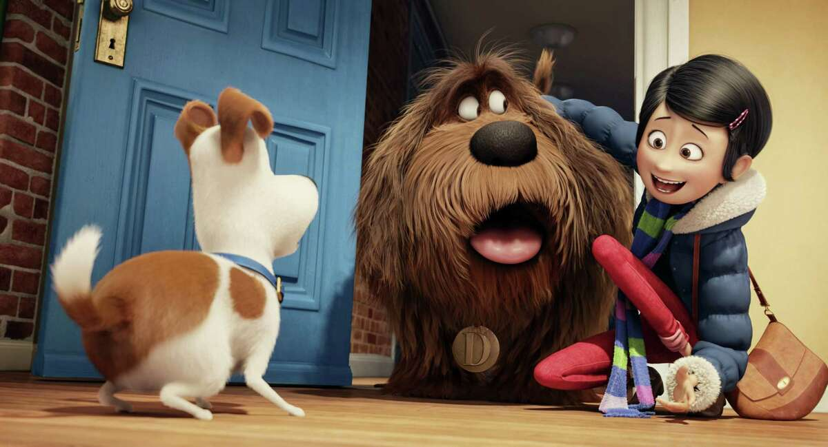 "In this image released by Universal Pictures, from left, characters Max, voiced by Louis C.K., Duke, voiced by Eric Stonestreet, and Katie, voiced by Ellie Kemper, appear in a scene from ""The Secret Lives of Pets."""