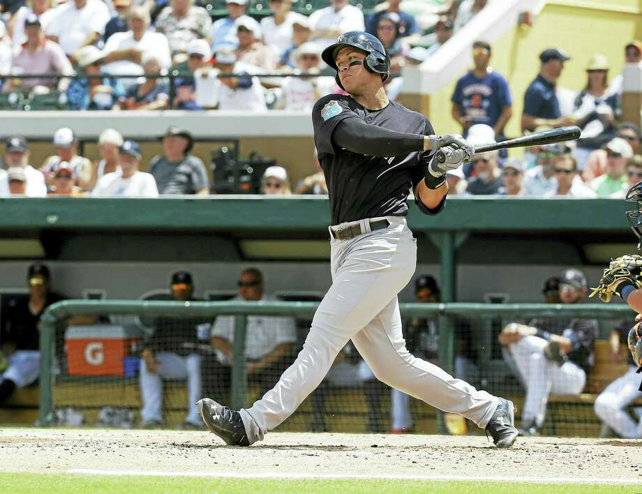 Aaron Judge bats against the Tigers during spring training. Photo: The Associated Press File Photo   / AP