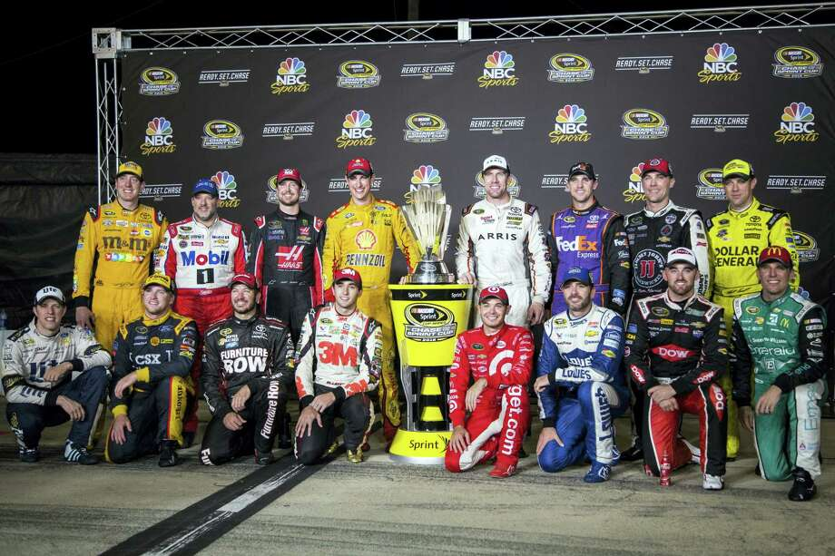 The drivers who have made it into the Chase pose in Richmond, Va. Standing, from left, are Kyle Busch, Tony Stewart, Kurt Busch, Joey Logano, Carl Edwards, Denny Hamlin, Kevin Harvick and Matt Kenseth. Kneeling, from left, Brad Keselowski, Chris Buescher, Martin Truex Jr., Chase Elliott, Kyle Larson, Jimmie Johnson, Austin Dillon and Jamie McMurray. Photo: Chet Strange — The Associated Press   / FR 171360 AP