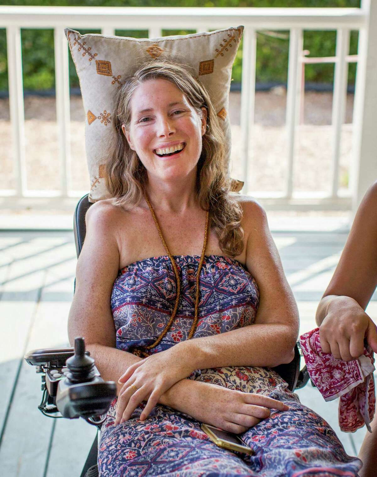 Betsy Davis smiles during a going away party with her family and friends in Ojai.