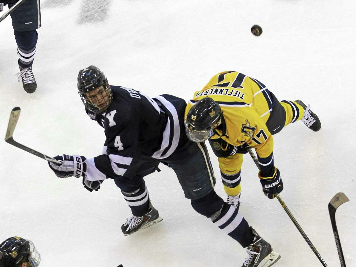Former Yale defenseman Rob O'Gara, pictured here against Quinnipiac, earned a spot on the Boston Bruins' opening day roster.