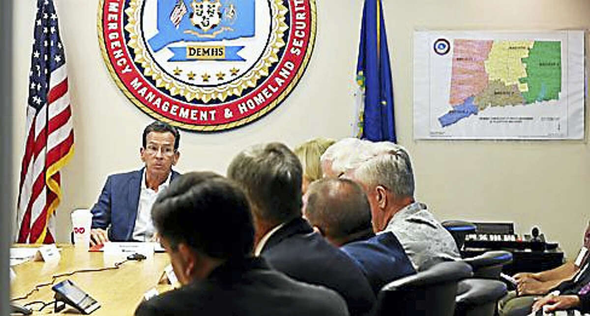 Gov. Dannel P. Malloy at the Emergency Operations Center Tuesday
