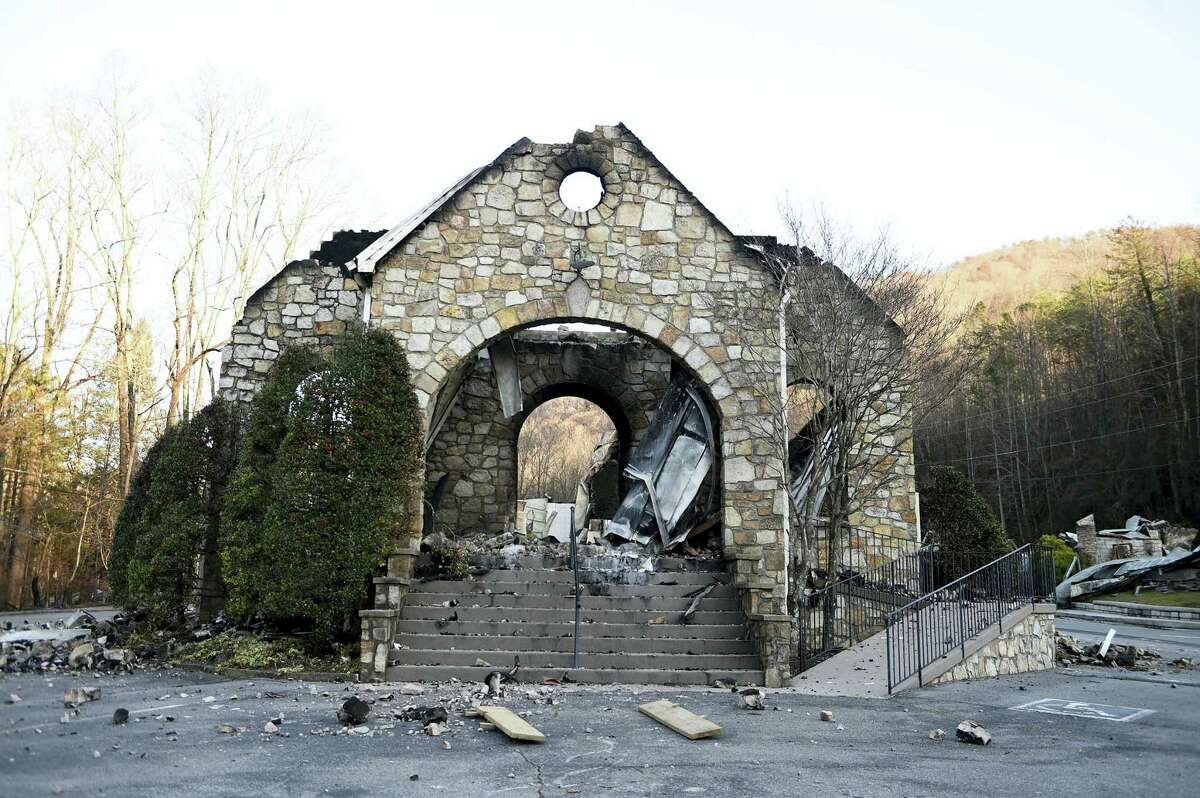 The stone walls are all that stands of the Roaring Fork Baptist Church in Gatlinburg, Tenn., Friday, Dec. 2, 2016, following the devastating wildfires from Monday night, Nov. 28.