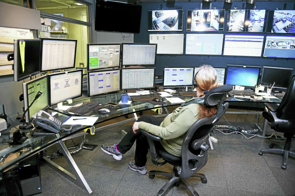The control room at the South Central Connecticut Regional Water Authority headquarters in New Haven.