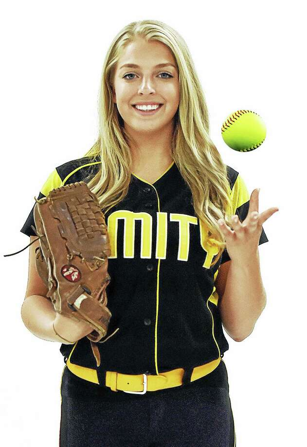 Amity grad Katie Koshes will play softball at UConn next year. Photo: Catherine Avalone — Register File Photo   / New Haven RegisterThe Middletown Press