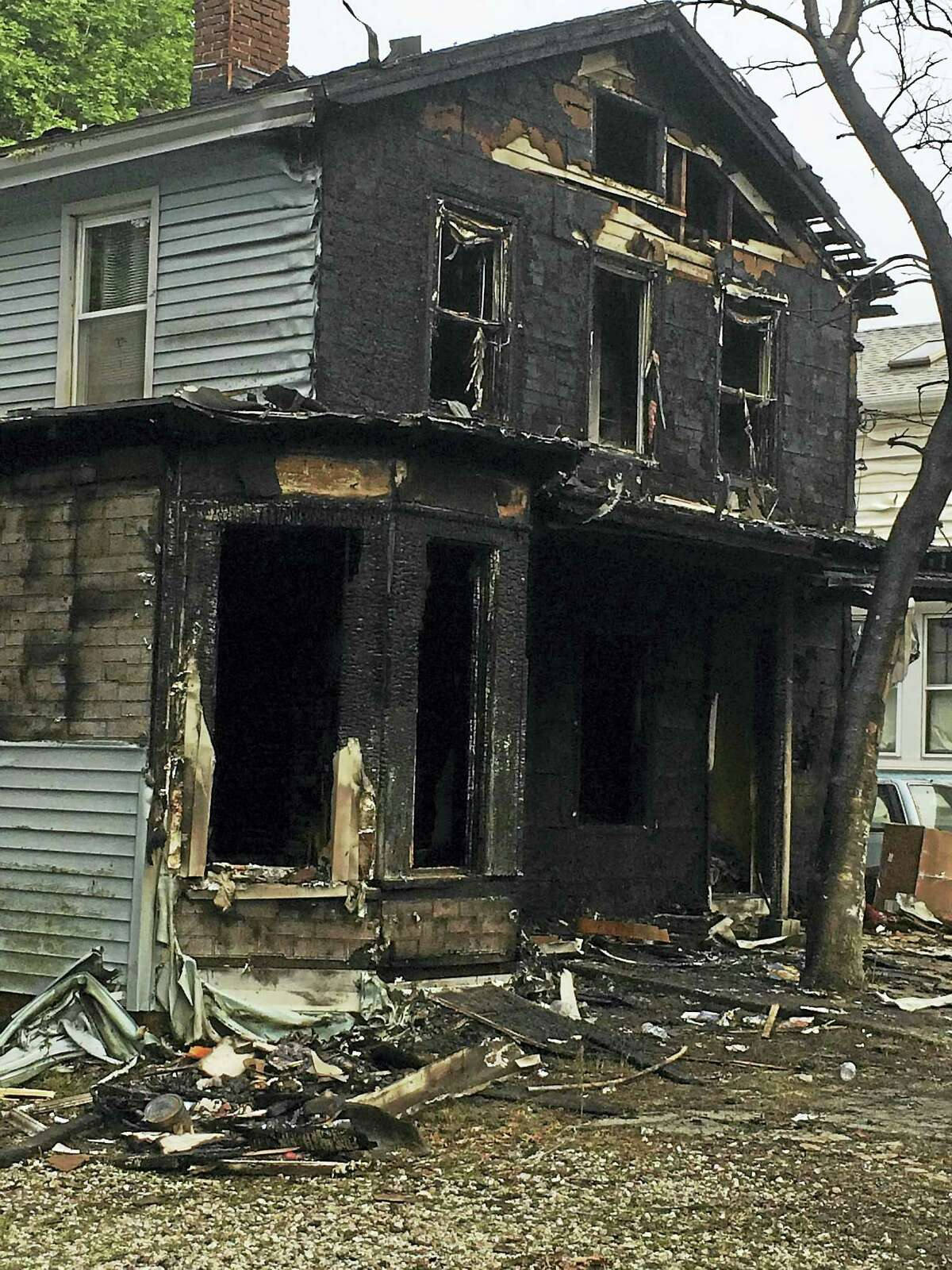 Fire destroyed a home at 16 Franklin St. in Ansonia Friday.