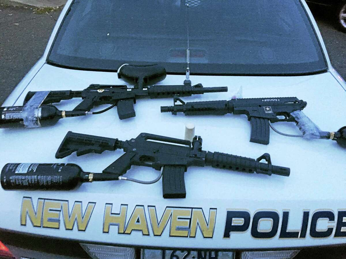 Paintball guns seized recently by New Haven police.
