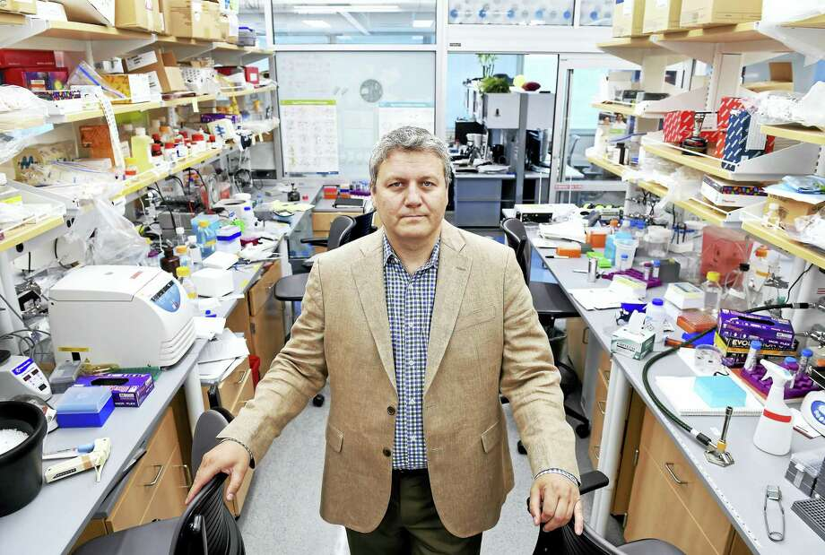 Andre Levchenko, director of Yale Systems Biology Institute, is photographed in his lab at Yale University's West Campus in West Haven. Photo: Arnold Gold — New Haven Register
