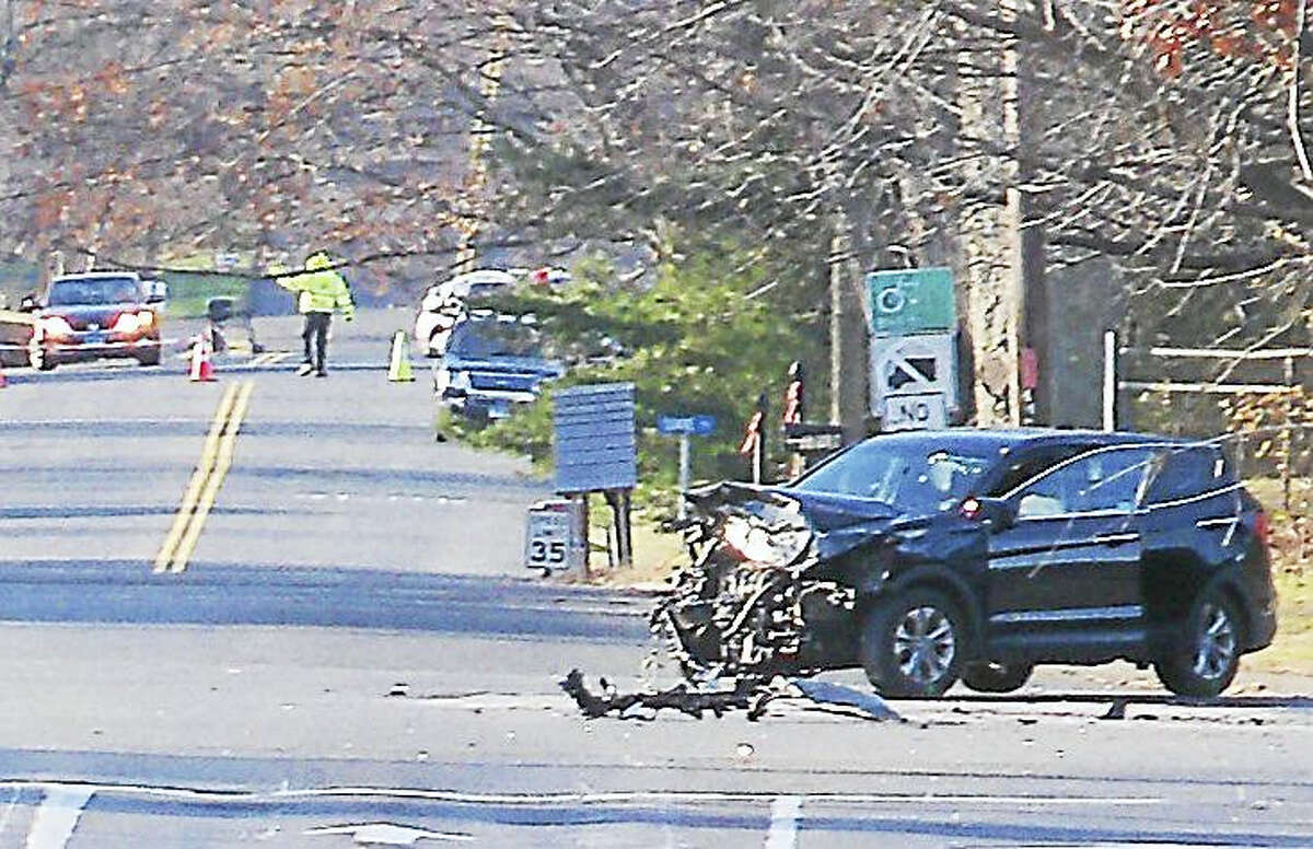 A large portion of the Hartford Turnpike in North Haven was shut down Friday morning after a four-car crash at the intersection with Dixwell Avenue. Two people were seriously hurt in the accident.