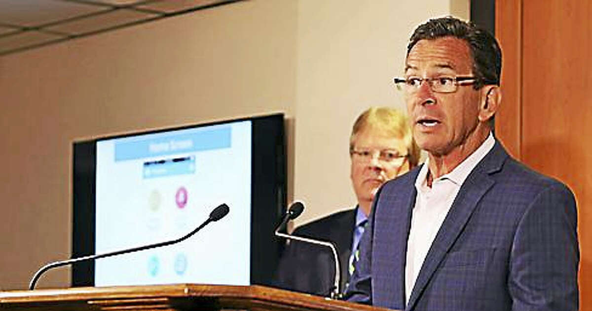 Gov. Dannel P. Malloy Tuesday in the Emergency Operations Center