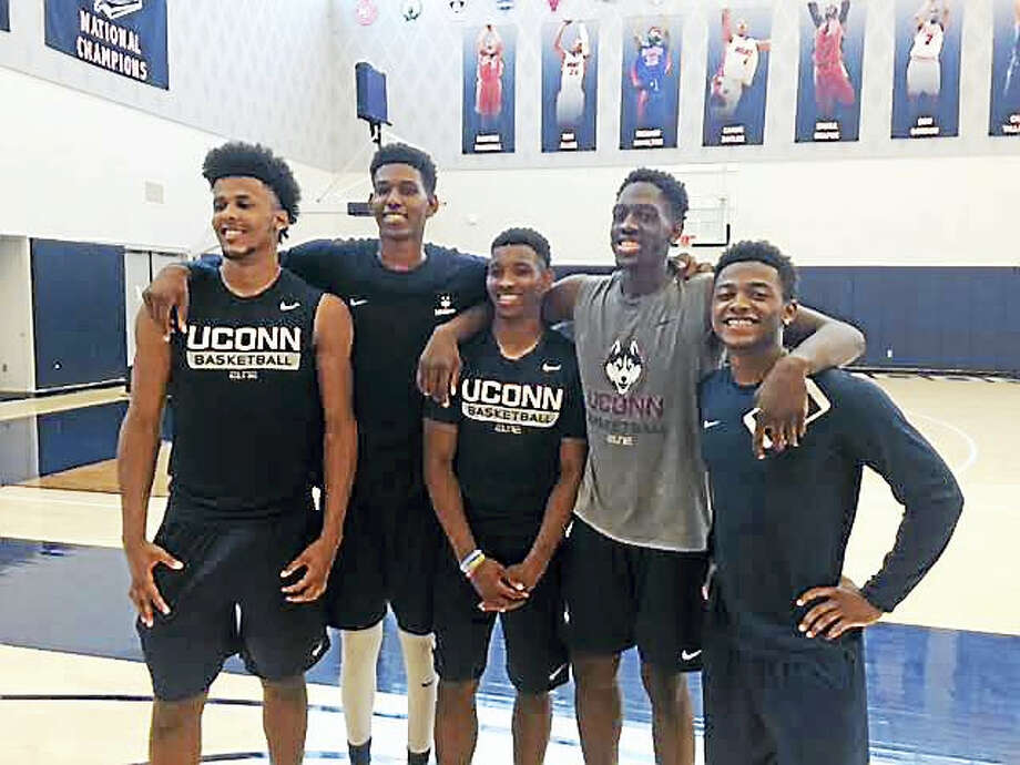 From left, UConn freshman Vance Jackson, Juwan Durham, Christian Vital, Mamadou Diarra and Alterique Gilbert. Photo: David Borges — Register