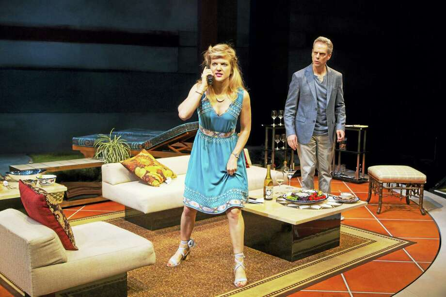 "Arden Myrin and Patrick Breen in a pivotal moment of ""Meteor Shower."" Photo: T. Charles Erikson Photo"
