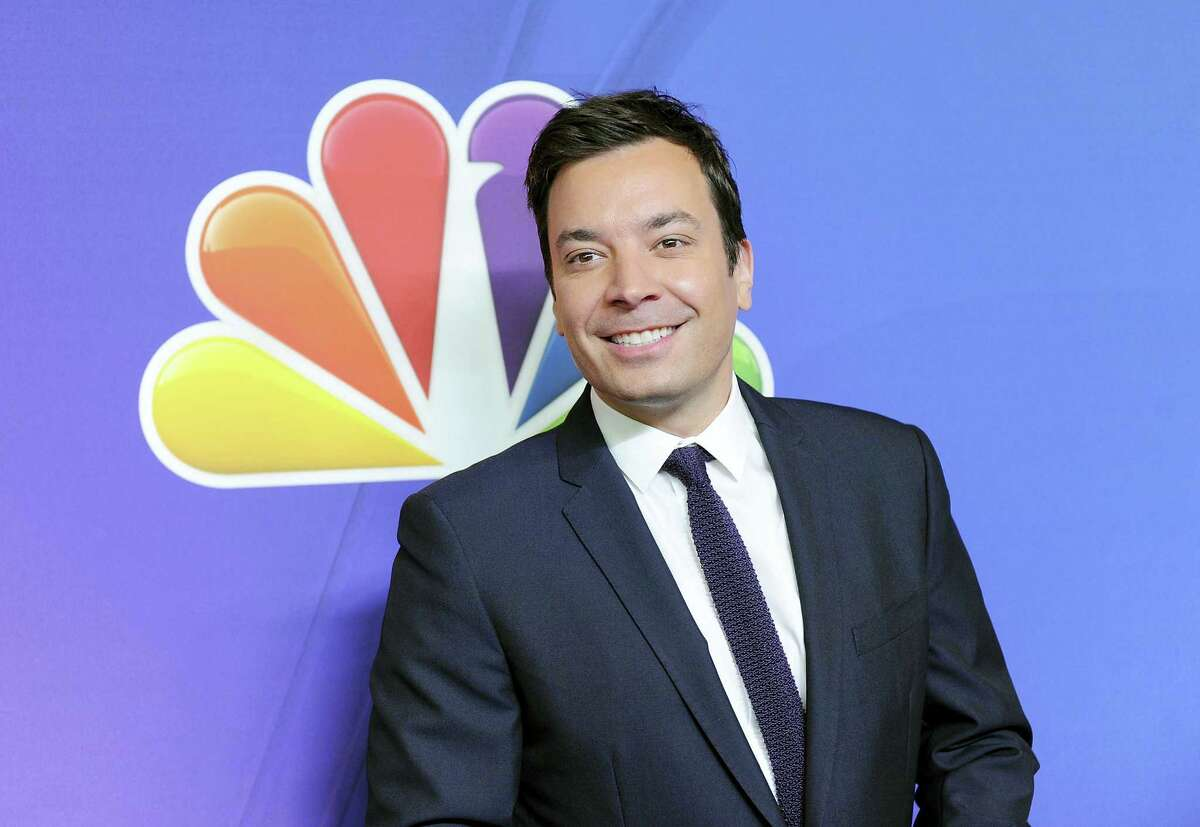 """In this May 12, 2014 photo, """"The Tonight Show"""" host Jimmy Fallon attends the NBC Network 2014 Upfront presentation at the Javits Center in New York."""