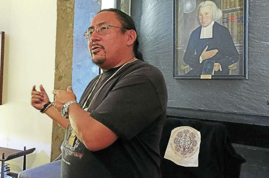 Standing Rock Sioux Councilman Frank White Bull following his speaking engagement at Yale University's Ezra Stiles College Monday in New Haven. Photo: Esteban L. Hernandez — New Haven Register