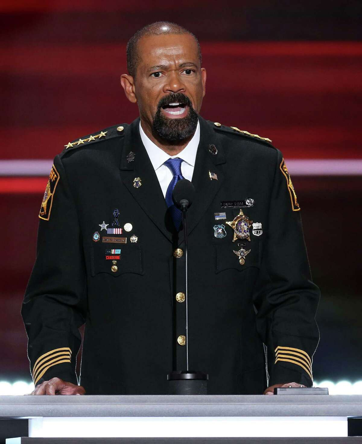 Milwaukee County Sheriff David A. Clarke Jr. speaks during the Republican National Convention in Cleveland, Ohio, July 18.