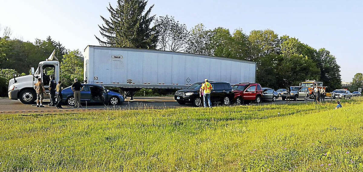 Traffic was backed up for miles Thursday, July 7, 2016 on Interstate 91 northbound after a crash involving five vehicles and a tractor-trailer near Exit 18 in Meriden.