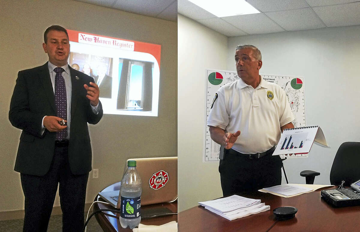 New Haven fire union President Frank Ricci and emergency operations Deputy Director Rick Fontana both met separately with the New Haven Register editorial board recently to discuss the city's proposed emergency plan.