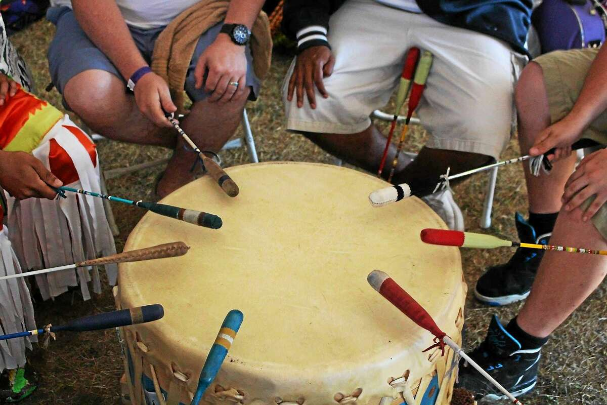 Drumming circle at the Hammonassett Festival, where authentic Native American traditions are observed and celebrated.