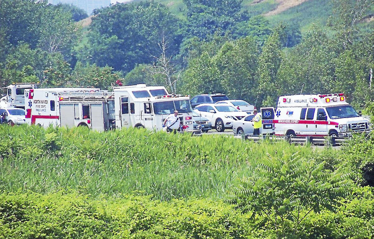 One person had to extricated from their vehicle after it crashed and rolled down an embankment Thursday afternoon on Interstate 91 northbound in New Haven near the North Haven line.