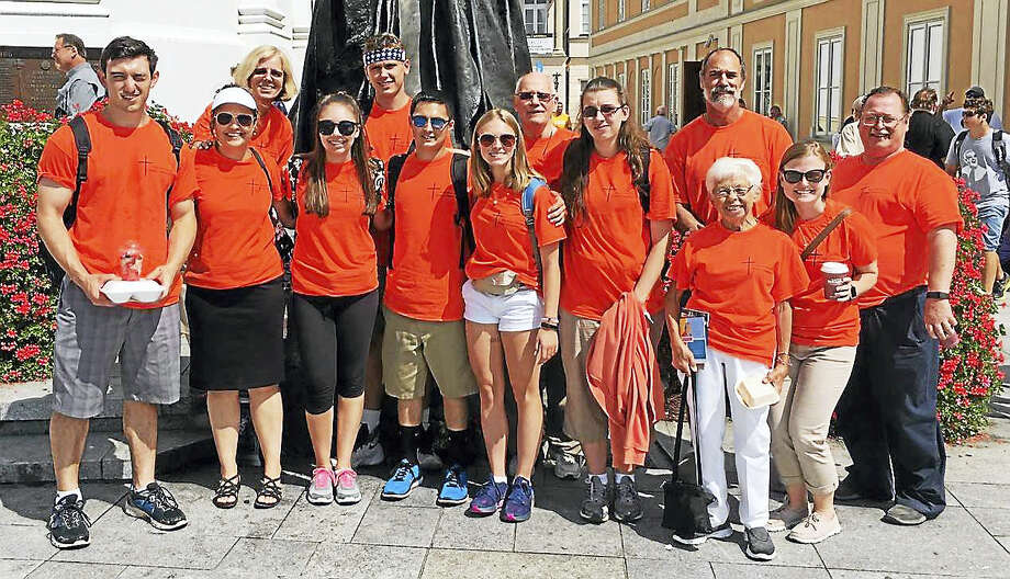 PHOTO COURTESY MICHAEL MUTTITA group of 13 young people and chaperones from Holy Infant Church in Orange attended World Youth Day in Krakow, Poland. Photo: Journal Register Co.
