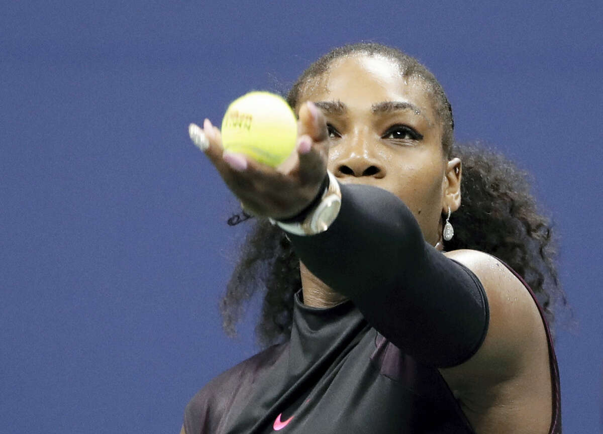 Serena Williams, of the United States, serves during a match against Simona Halep, of Romania, during the quarterfinals of the U.S. Open tennis tournament on Sept. 7, 2016, in New York. Williams won 6-2, 4-6, 6-3.
