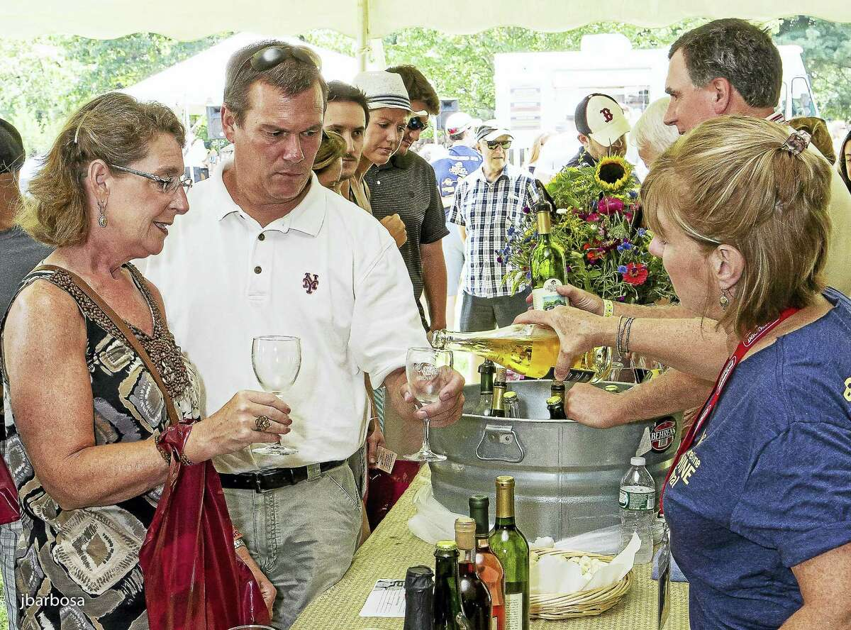 The Connecticut-made wine flows at last year's wine fest.