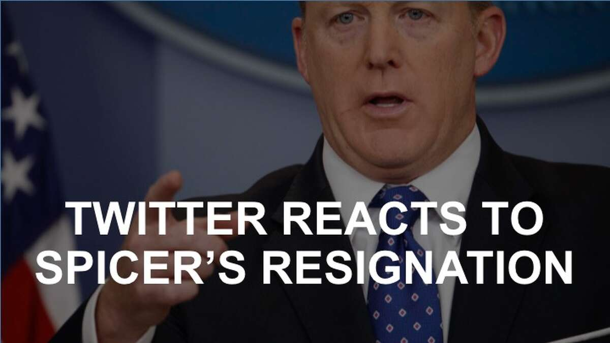 Click on to see how Twitter coped with news of Sean Spicer's resignation as White House Press Secretary.