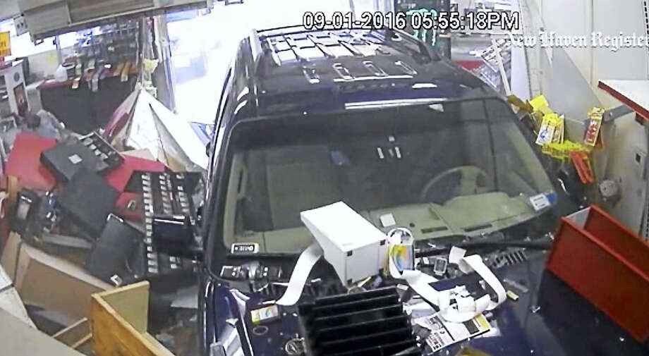 Police have a released surveillance video showing an SUV crashing through a Clinton gas station. A clerk had to be taken to Yale-New Haven Hospital after the Sept. 1 accident at Shell, 196 E. Main St. Photo: Photo Via Video From Clinton Police Department