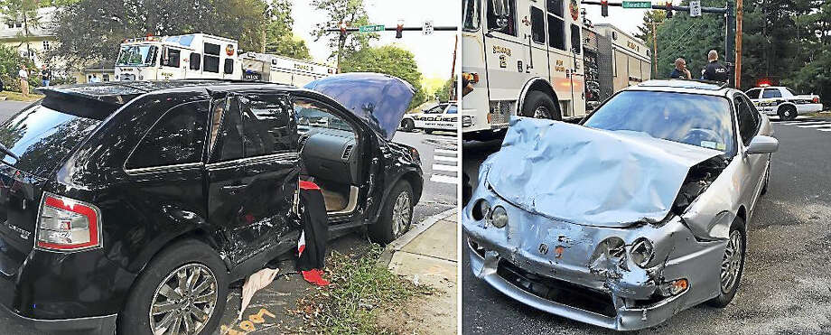 State police are investigating after a pursuit from Woodbridge led to a crash Wednesday night in New Haven. An Acura Integra was allegedly fleeing Woodbridge police when it collided with an SUV at the intersection of Edgewood Avenue and Forest Road. Photo: Photos Courtesy Of The New Haven Fire Department