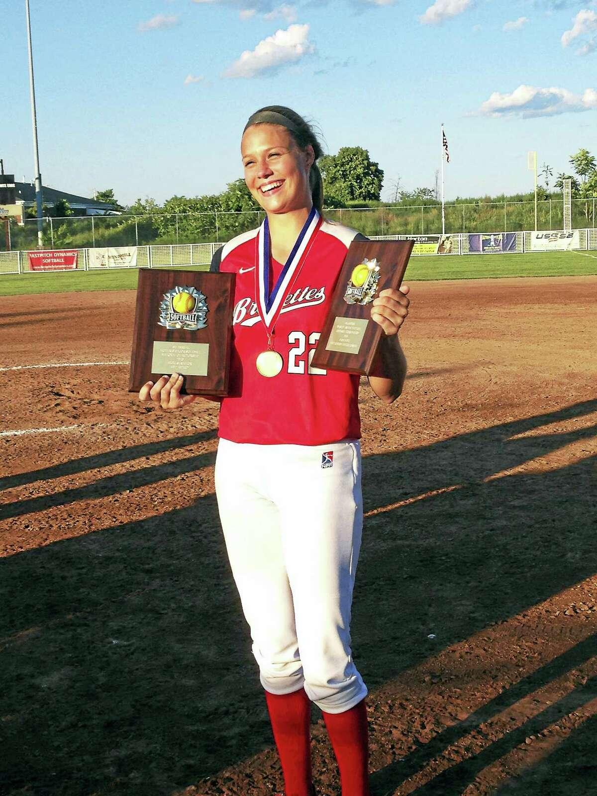 Brakettes pitcher Megan Good was named the MVP of the Women's Major Softball National Championship tournament.