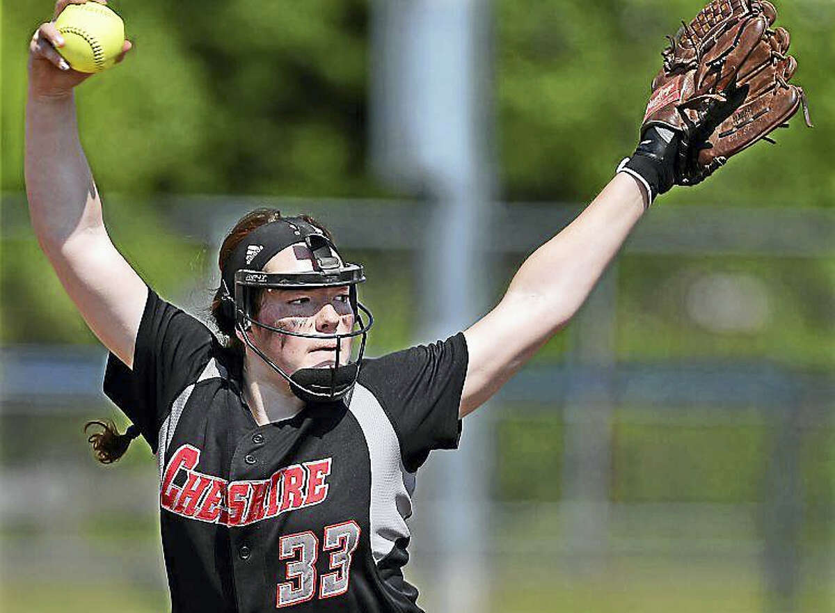 Cheshire's Abby Abramson pitches during the SCC Softball Championship at Biondi Field at West Haven High School.
