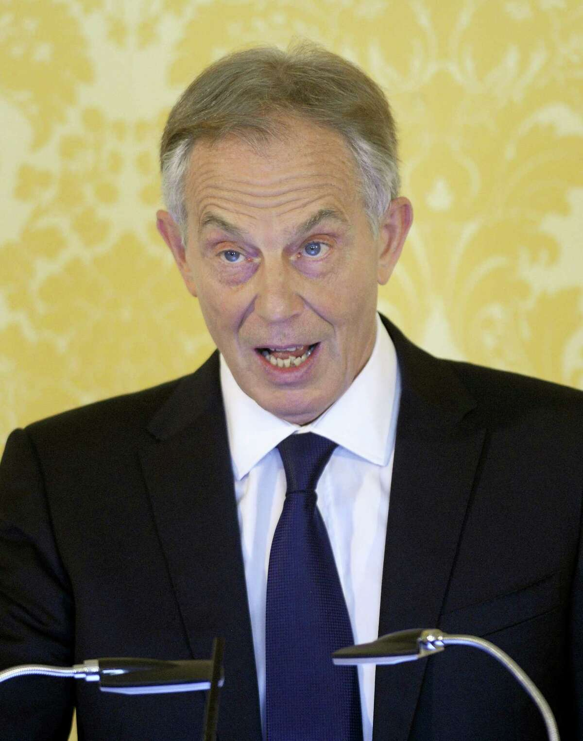 """British former Prime Minister tony Blair holds a press conference at Admiralty House, London, after retired civil servant John Chilcot presented The Iraq Inquiry Report on Wednesday, July 6, 2016. An emotional Blair told at a news conference that going to war in Iraq was """"the hardest, most momentous, most agonizing decision I took in my 10 years as British prime minister."""""""