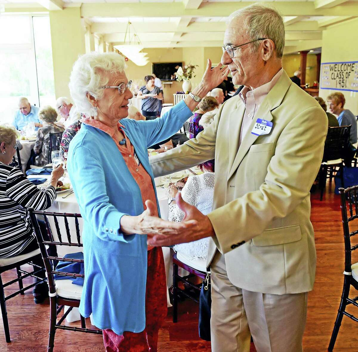 Peter Hvizdak - New Haven Register Carmela Grova Loda of Ithaca , NY. left, with high school friend Stratos Guiliotis of Los Gatos, California, both from the Ansonia High School class of 1951 feign dancing during a class reunion Sunday afternoon at the Traditional Golf Club at Oak Lane in Woodbridge. The two friends became dancing partners at an earlier reunion and were nicknamed Fred and Ginger after legendary dancers Fred Astaire and Ginger Rogers.