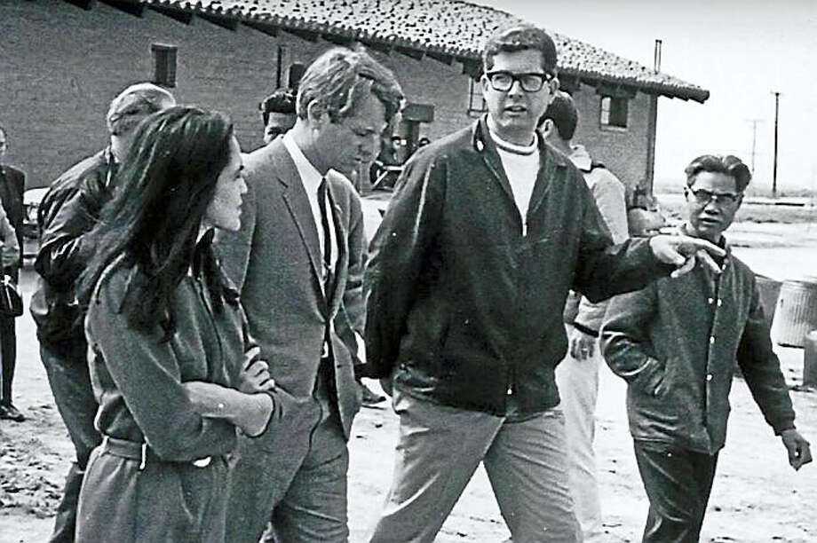 Robert F. Kennedy, center, flanked by union organizers Dolores Huerta, left, and Paul Schrade, right. Huerta co-founded what would become the United Farm Workers. Schrade, also a union organizer, was one of five others wounded when RFK was assassinated in 1968. Photo: Courtesy Of Mexican American Legal Defense And Educational Fund