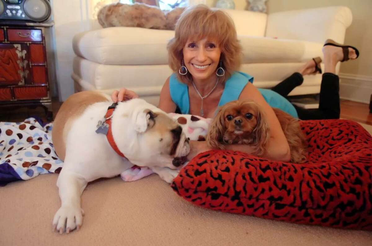 Elaine Doran in her home studio where she creates Puppy Hugger & Kitty Cats Too dog and cat beds and blankets on Tuesday, June 8, 2010. Winston, 1, an English Bull dog, left, and Chelsea, a CavalierKing Charles spaniel, 6, enjoy the beds.