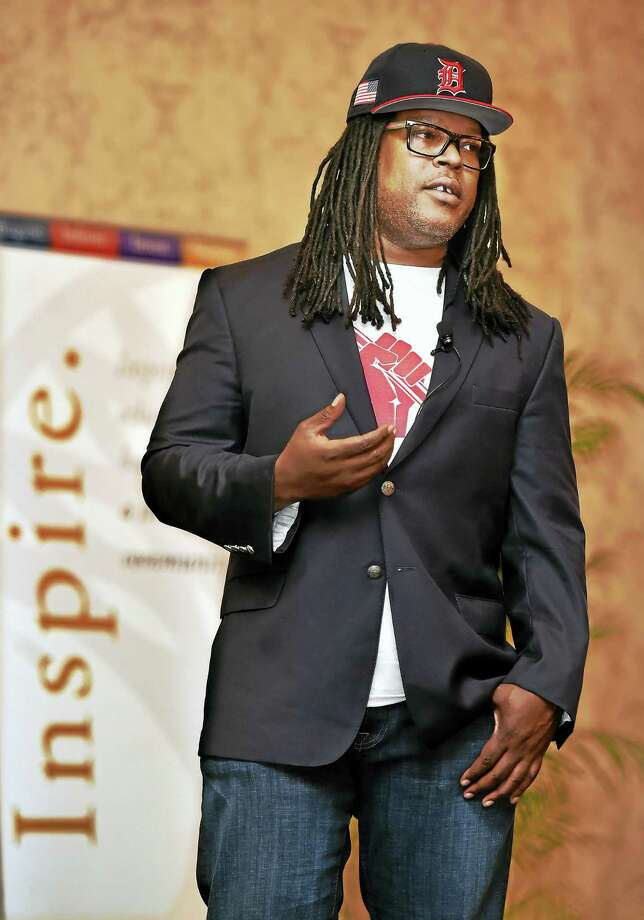 Shaka Senghor speaks about the transformation of his life during a program Thursday at the Omni New Haven Hotel at Yale. Photo: Catherine Avalone — New Haven Register   / New Haven RegisterThe Middletown Press
